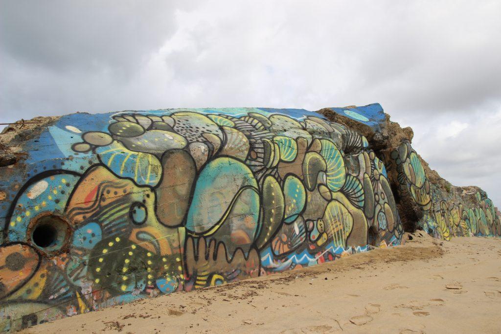 Arte utbano en la playa de Capbreton